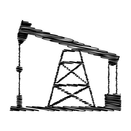 drilling rig: Oil drilling rig sign. Flat style icon with scribble effect