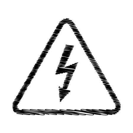 volte: High voltage danger sign. Flat style icon with scribble effect Illustration