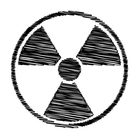 perilous: Radiation Round sign. Flat style icon with scribble effect Illustration