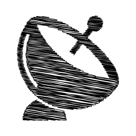 transmitting: Satellite dish sign. Flat style icon with scribble effect Illustration