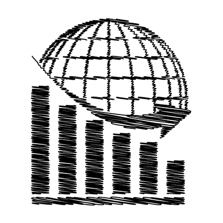 declining: Declining graph  with earth. Flat style icon on transparent background