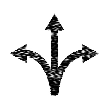three points: Three-way direction arrow sign. Flat style icon on transparent background Illustration