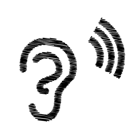 listener: Human ear sign. Flat style icon on transparent background