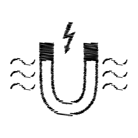 magnetic: Icon of magnet with magnetic force indication with scribble effect