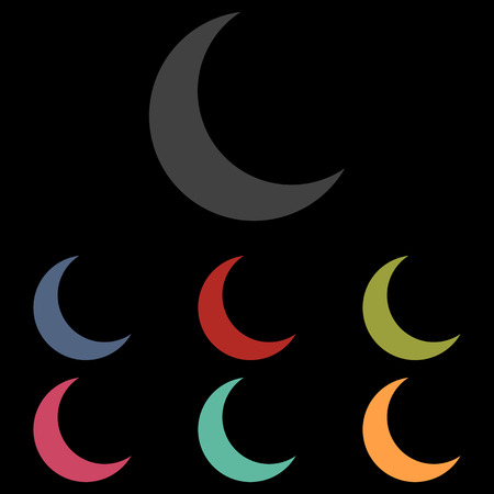 afterglow: Moon vector icon set on black background. Vector illustration