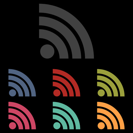 rss feed: RSS sign icon. RSS feed symbol. Iocn set on black background. Vector illustration