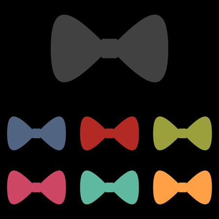 prom: Vector Black Bow Tie icon set on black background. Vector illustration Illustration