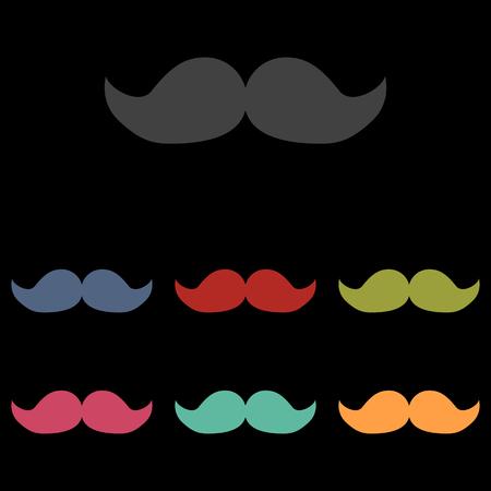 moustaches: Set of moustaches icon on black background. Vector illustration
