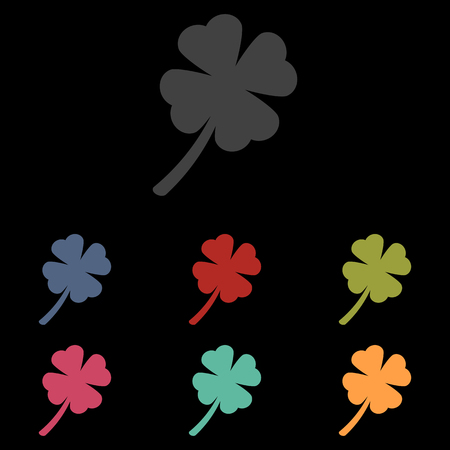 patric: Clover leaf icon set on black background. Vector illustration