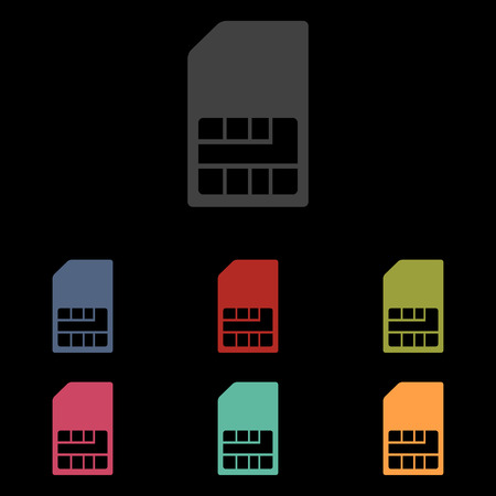 prepaid: Sim card icon set on black background. Vector illustration