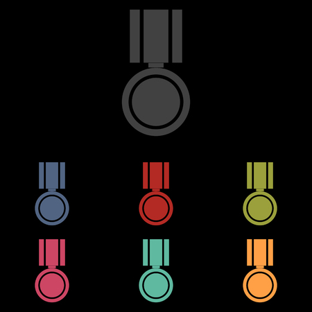 incentive: Medal icon on black background. Vector illustration