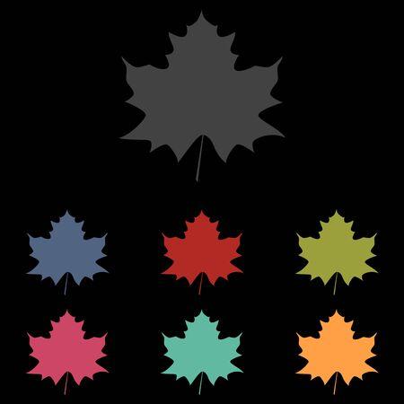 maple leaf icon: Maple leaf icon set on black background. Vector illustration