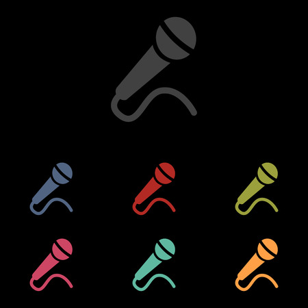 amplification: Microphone Icon set on black background. Vector illustration Illustration