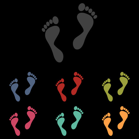 foot prints: foot prints icons set on black background. Vector illustration