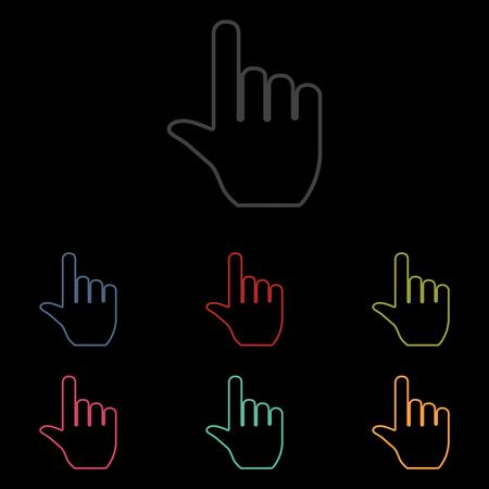 depress: Hand icon set on black background. Vector illustration