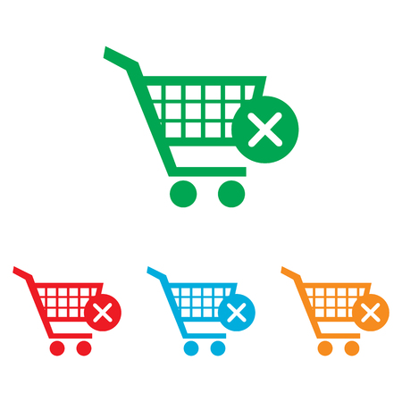 pushcart: Shopping Cart and X Mark Icon, delete sign. Colorfull set isolated on white background