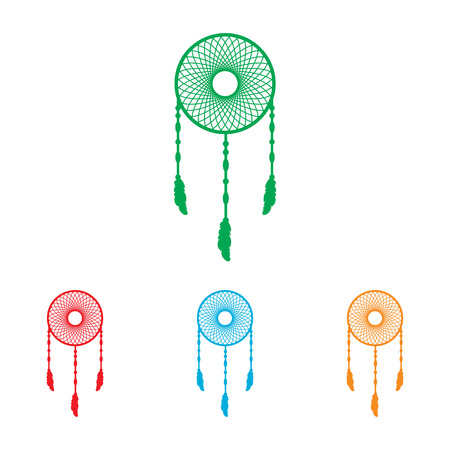 swelled: Dream catcher sign. Colorfull set isolated on white background Illustration