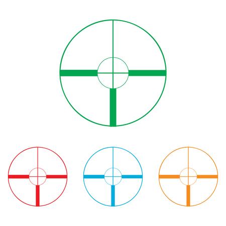 crosshair: Crosshair Target  sign. Colorfull set isolated on white background Illustration