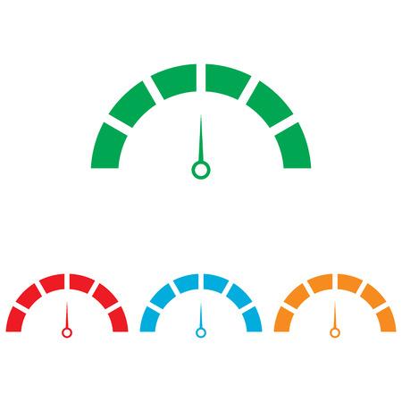 warning indicator: Speedometer sign. Colorfull set isolated on white background