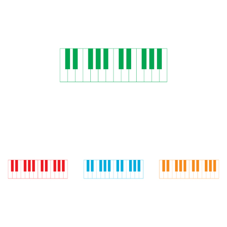 Piano Keyboard sign. Colorfull set isolated on white background