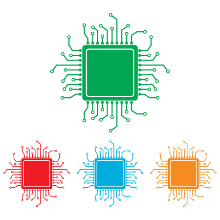 circuitry: CPU Microprocesso. Colorfull set isolated on white background