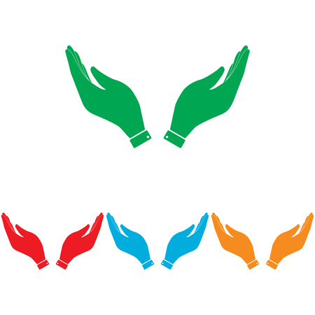 www arm: Hand icon. Prayer symbol. Colorfull set isolated on white background