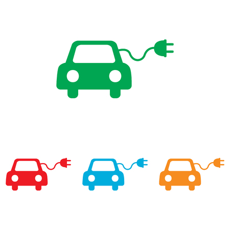 echnology: Eco electrocar sign. Colorfull set isolated on white background Illustration