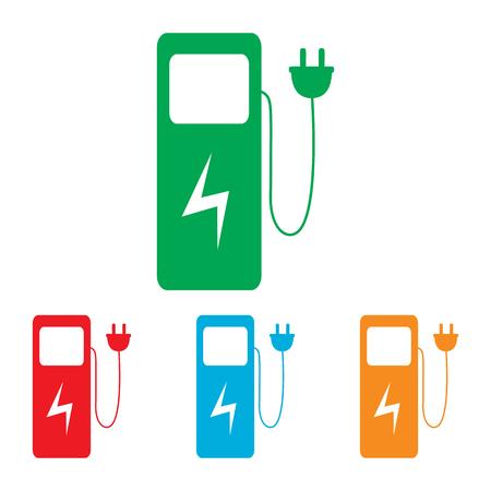 zero emission: Electric car charging station sign. Colorfull set isolated on white background Illustration