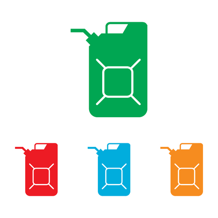 filler: Jerrycan oil sign. Colorfull set isolated on white background