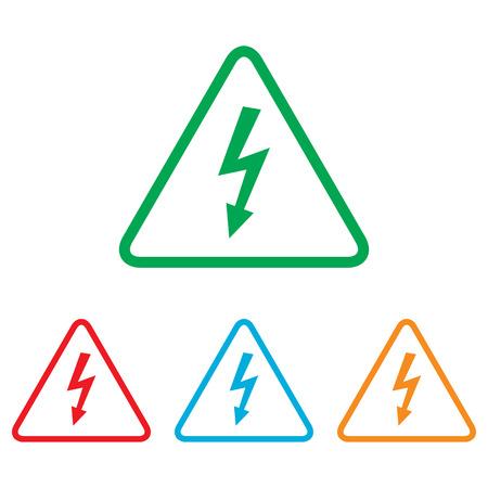 peligro: Muestra de alto voltaje peligro. conjunto de Colorfull aislado en el fondo blanco
