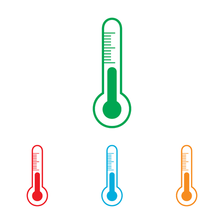 meteo: Thermometer sign. Colorfull set isolated on white background