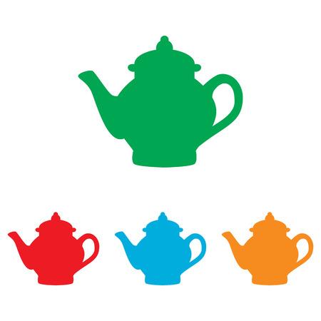 sign maker: Tea maker sign. Colorfull set isolated on white background
