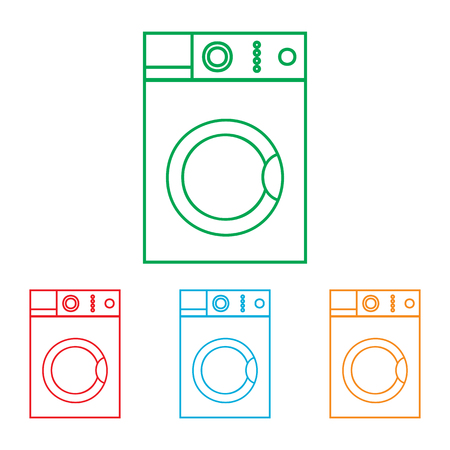 major household appliance: Washing machine sign. Colorfull set isolated on white background