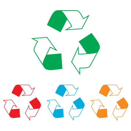 recycle logo: Recycle logo concept. Colorfull set isolated on white background
