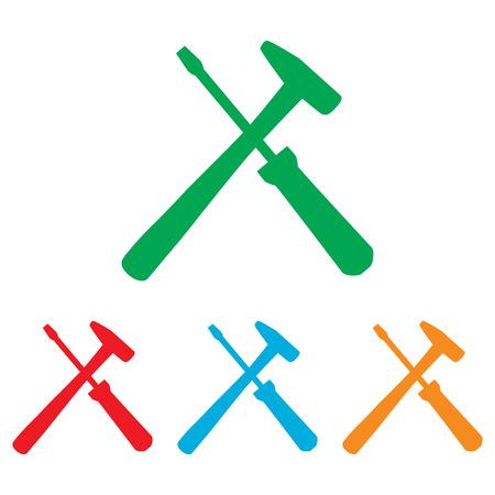 screw key: Tools sign. Colorfull set isolated on white background