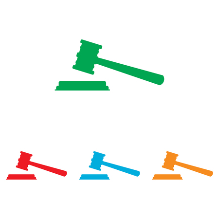 justice hammer: Justice hammer sign. Colorfull set isolated on white background Illustration