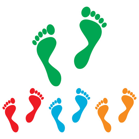 commit: Foot prints sign. Colorfull set isolated on white background