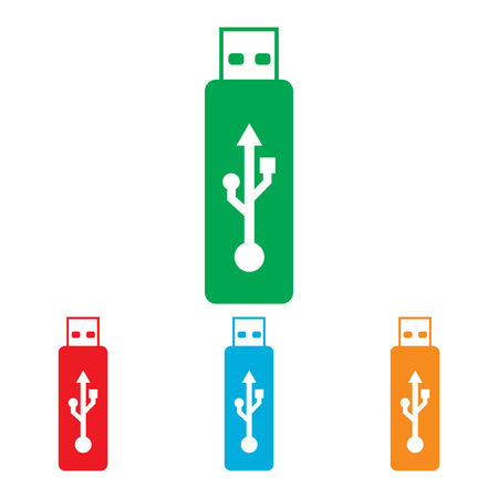 pocket pc: Vector usb flash drive sign. Colorfull set isolated on white background