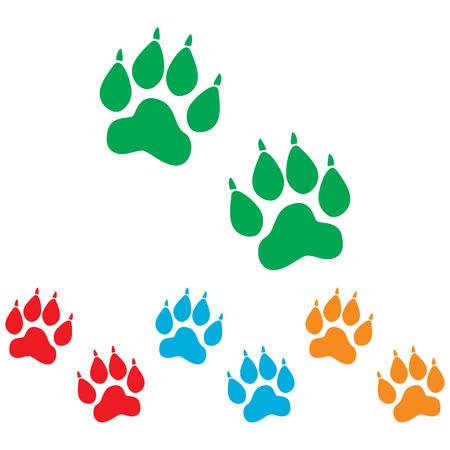 huellas de animales: Pistas animales firman. conjunto de Colorfull aislado en el fondo blanco