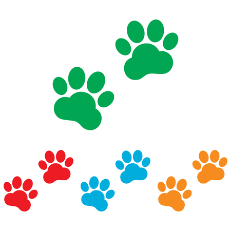 animal tracks: Animal Tracks sign. Colorfull set isolated on white background Illustration