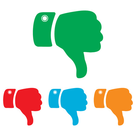 disapprove: Hand sign. Colorfull set isolated on white background Illustration