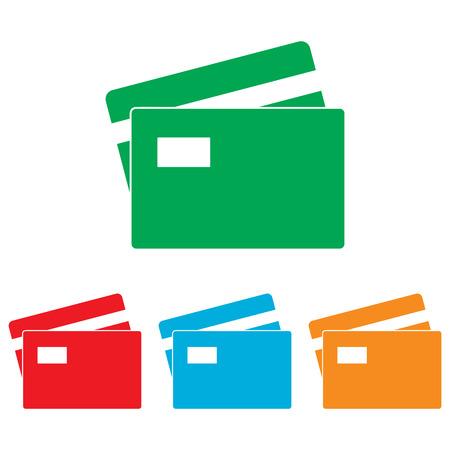 transact: Credit Card sign. Colorfull set isolated on white background Illustration