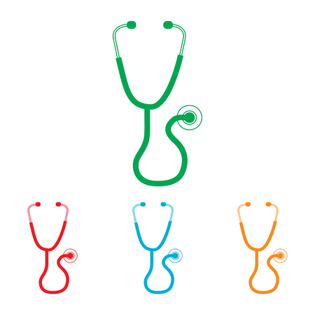 io: Stethoscope sign. Colorfull set isolated on white background