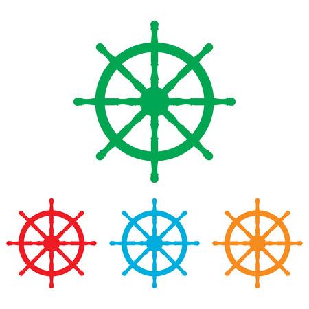 timon de barco: Muestra nave rueda. conjunto de Colorfull aislado en el fondo blanco