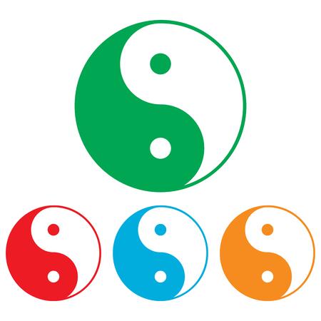 harmony united: Ying yang symbol of harmony and balance. Colorfull set isolated on white background