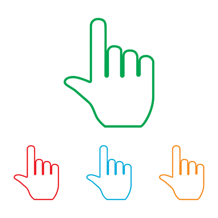 hit tech: Hand sign. Colorfull set isolated on white background Illustration