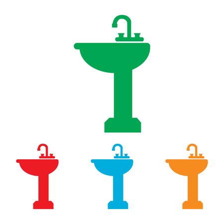 bathroom sink: Bathroom sink sign. Colorfull set isolated on white background Illustration