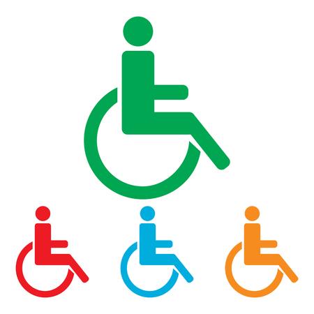 personas discapacitadas: Muestra lisiada. conjunto de Colorfull aislado en el fondo blanco