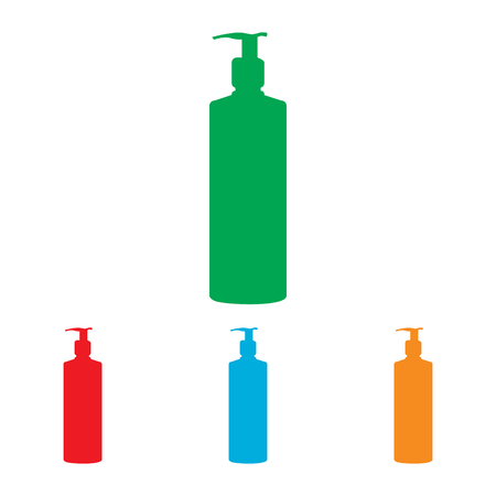 silhuette: Gel, Foam Or Liquid Soap Dispenser Pump Plastic Bottle silhuette. Vector illustration.