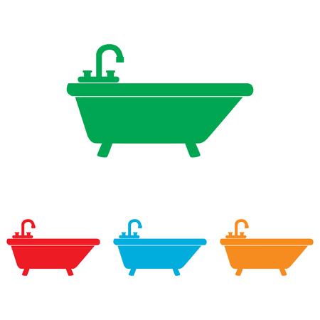 bathtub: Bathtub sign. Colorfull set isolated on white background